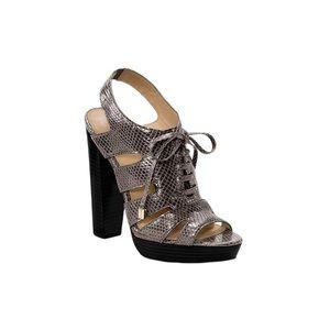COACH Moreen Metallic Python Lace Up Sandal Heels